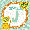 ABC Tiere J ist Jaguar. Kinder Englisch Alphabet