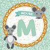 ABC Tiere M Maus. Kinder Englisch Alphabet
