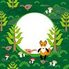 Fox Hintergrund grünen Wald mit Tannen Pilz