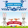 Fröhliche Ostern. Kaninchen, Eier, Blumen, Bänder.