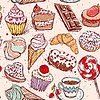 Süßwaren nahtlose Muster Croissant Kuchen-