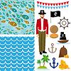 Nette Piraten-Objekte Sammlung. nahtlose Hintergrund