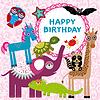 Lustige Tiere Parteien-Design auf rosa Blumen