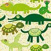 Fröhlich nahtlose Muster mit Krokodil, Schildkröte,