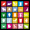 Set silhouettes of animals. Flat icon