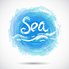 Гранж фон с ярко-синим всплеском. Море | Векторный клипарт