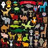 Set von lustigen Comic-Tiere Zeichen auf schwarz