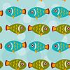 Nahtloses Muster mit lustigen niedlichen Fisch Tier auf blu
