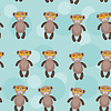 Nahtloses Muster mit lustigen niedlichen Affen Tier