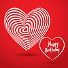 Alles Gute zum Geburtstag weißen Herzen auf rotem Hintergrund.