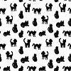 Nahtlose Muster Schwarze Katzen Silhouetten