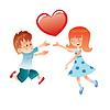 Liebe Jungen und Mädchen mit roten Herzen