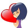 Mädchen Teenager umarmt Herzkissen