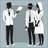 Leiter Geschäftsmann gibt Arbeit an Mitarbeiter