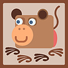 Mono icono de dibujos animados estilizada | Ilustración vectorial