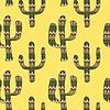Muster mit Kakteen auf gelbem Hintergrund