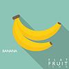 Banana Flach Symbol mit langen Schatten