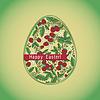 Osterei mit Erdbeeren, grüne Grußkarte