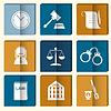 Gesetz Richter Icon-Set, Gerechtigkeit Zeichen