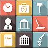 Recht, Gesetz und Recht Icon-Set im FD-design
