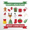 Weihnachts-Icons, Flat. Quadratischen Tasten mit Ne