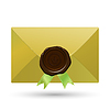 Umschlag mit Dichtung und grüne Bänder