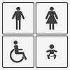 Restroom-Ikonen: Damen, Herren, Kinder und Behinderung