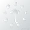 Papiersymbol, Sonnenschirm und Wettersymbole