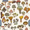 Nahtlose Muster von verschiedenen Pilzen