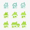 abstrakte grünen und blauen Symbole Haus