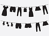 Clothes hanging on the strings | 向量插图