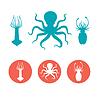 Set von Meeresfrüchten Flach Symbole