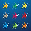 Векторный клипарт: Разноцветные оригами рыба