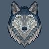 Wolf-Kopf-Maskottchen-Mosaik
