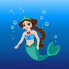 niedliche Meerjungfraumädchen unter dem Meeresspiegel