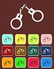 Handschellen - Symbol mit Farbvariationen