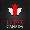 Ich liebe Kanada Zeichen und Etiketten auf Ahornblatt-Flagge