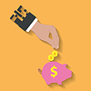 Business Hand spart Geld im Sparschwein