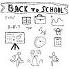 Векторный клипарт: Вернуться к Школьные принадлежности Эскизные Doodles