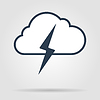 Blitzschlag Wetter flache Linie icon Infografik