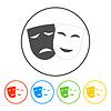 Theater Symbol mit glücklichen und traurigen Masken