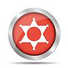 Sheriff Stern. Flach Web-Symbol oder Zeichen auf Rot