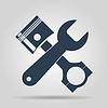 Векторный клипарт: Инструменты и поршень Иконка. Услуги Simbol. Ремонт singn