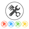 Werkzeuge und Kolben-Ikone. Service simbol. Repair singn