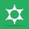 Sheriff Stern. Flach Web-Symbol oder Zeichen auf grauem