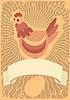 Векторный клипарт: птица Курица и цыпленок логотип