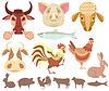 Векторный клипарт: сельскохозяйственные животные