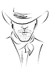 Векторный клипарт: Портрет ковбой .Strong человека в ковбойской шляпе