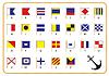 Сигнал морских флагов и якорь | Векторный клипарт