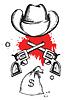 Cowboy-Hut mit Blut Waffen. Grafik westlichen crimina